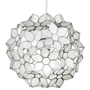 View Lights By B&Q Tabitha Beige Capiz Flower Ball Light Shade (D)24cm details