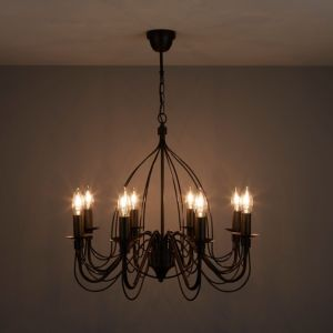 Image of Vas Matt Black 8 Lamp Chandelier Ceiling light
