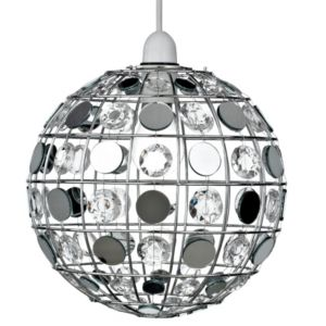 View Lights By B&Q Mariah Chrome Effect Pendant Light Shade details