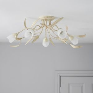View Cloe Alabaster 5 Lamp Ceiling Light details