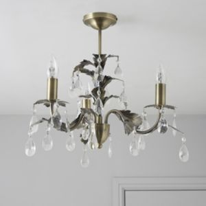 View Burton Antique Brass Effect 3 Lamp Ceiling Light details