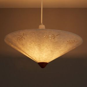 Image of Olive Cream Leaf Print Uplighter Light Shade (D)400mm
