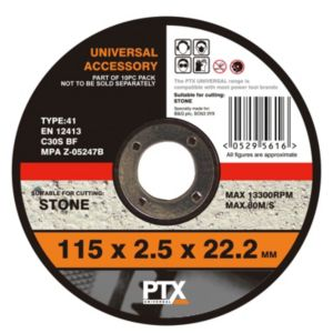 View PTX Flat Stone Cutting Disc (Dia)115mm details