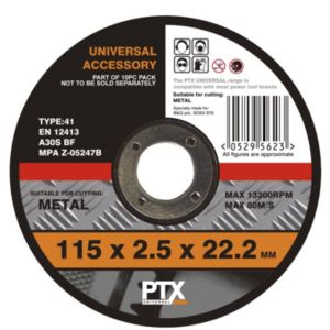 View PTX Flat Metal Cutting Disc (Dia)115mm details