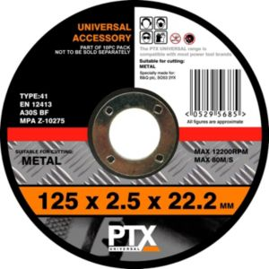 View PTX Flat Metal Cutting Disc (Dia)125mm details