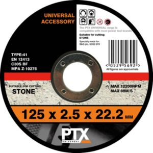 View PTX Flat Stone Cutting Disc (Dia)125mm details