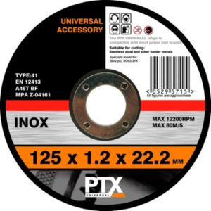 View PTX Straight Inox Cutting Disc (Dia)125mm details