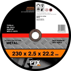 View PTX Flat Metal Cutting Disc (Dia)230mm details