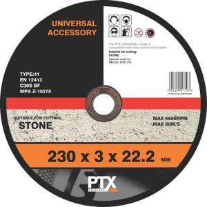 View PTX (Dia)230mm Continuous Flat Stone Cutting Disc details