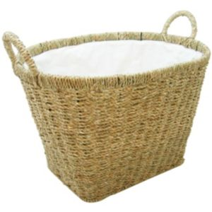 View B&Q Light Brown Seagrass Lined Laundry Basket details