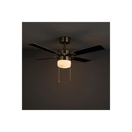 San Antonio Black Brushed Chrome Effect Ceiling Fan Light