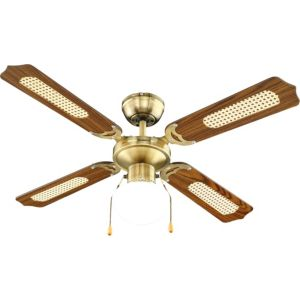 View Reamington Antique Brass Effect Ceiling Fan Light details