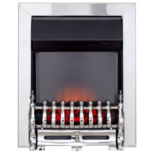 View Chrome Effect with Black Insert Abbie LED Display Electric Inset Fire, Brushed Steel Finish details