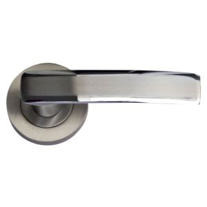 View B&Q Select Satin Nickel Effect Straight Internal & External Lever Latch Door Handle, Pack of 1 Pair details