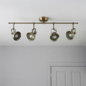 View Waverley Antique Brass Effect 4 Lamp Bar Spotlight details