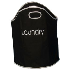 View B&Q Black & White Polyester Laundry Bag details