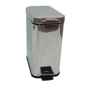 Cooke & Lewis Chrome Effect Stainless Steel Rectangular Pedal Bin  4.5L