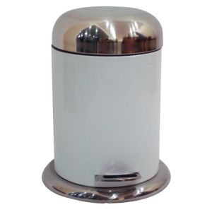 Image of Cooke & Lewis Chrome Effect White Steel Circular Pedal Bin 5L