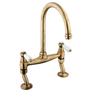 View Cooke & Lewis Chambley Antique Brass Effect Bridge Mixer Tap details
