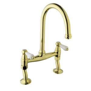 View Cooke & Lewis Chambley Brass Effect Bridge Mixer Tap details