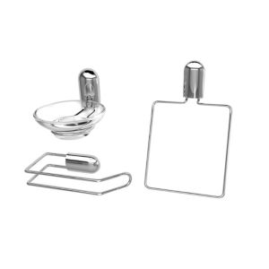 View B&Q Chrome Effect Glass & Steel Bathroom Accessory Pack, Pack of 3 details