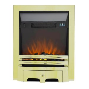 Image of Sirocco IGNITE LED Remote control Brass & Black Electric Fire