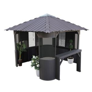 Image of Canadian Spa Frazer Brown Square Gazebo (W)3.37m (D)3.37m - Assembly service included