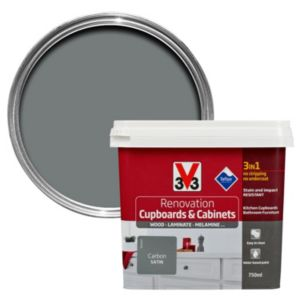 V33 Renovation Carbon Smooth Satin Kitchen Cupboard & Cabinet Paint 750 ml