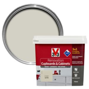 V33 Renovation Linen Smooth Satin Kitchen Cupboard & Cabinet Paint 750 ml