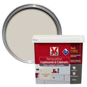 V33 Renovation Pearl Barley Smooth Satin Kitchen Cupboard & Cabinet Paint 750 ml