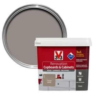 V33 Renovation Taupe Smooth Satin Kitchen Cupboard & Cabinet Paint 750 ml