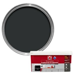 V33 Renovation Midnight Black Smooth Satin Kitchen Cupboard & Cabinet Paint 2 L