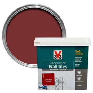 V33 Renovation Chilli Red Satin Wall Tile Paint 750ml