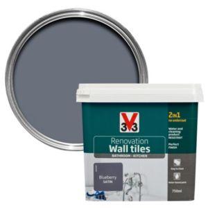 V33 Renovation Blueberry Satin Wall Tile Paint 750ml