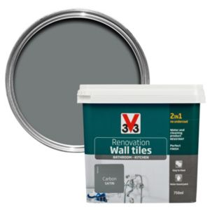 V33 Renovation Carbon Satin Wall Tile Paint 750ml