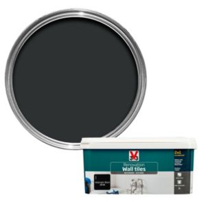 V33 Renovation Midnight Black Satin Wall Tile Paint 2L