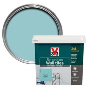 V33 Renovation Azure Satin Wall Tile Paint 750ml