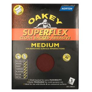 View Oakey 80 Medium Sandpaper Sheet, Pack of 3 details