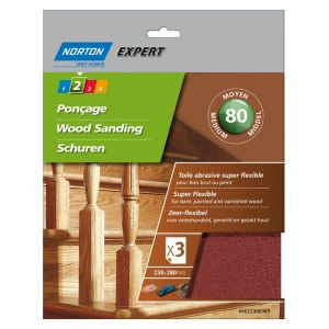Image of Norton Expert 80 Grit Medium Sandpaper sheet Pack of 3