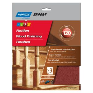 Image of Norton Expert 120 Grit Fine Sandpaper sheet Pack of 3