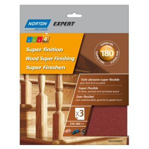 Image of Norton Expert 180 Grit Extra fine Sandpaper sheet Pack of 3