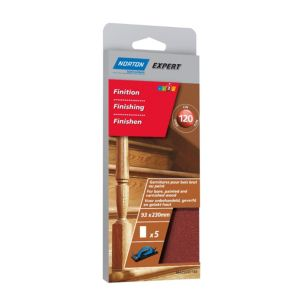 Image of Norton 120 Grit Fine Sanding block refill Pack of 5