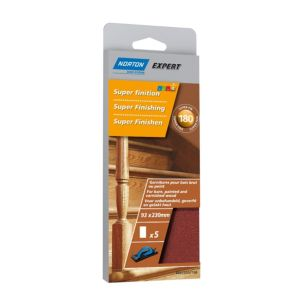 Image of Norton 180 Grit Extra fine Sanding block refill Pack of 5
