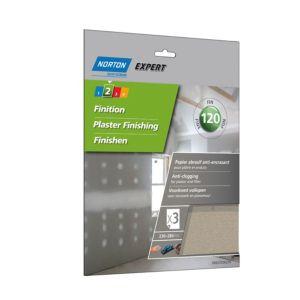 Image of Norton 120 Grit Fine Sandpaper sheet Pack of 3