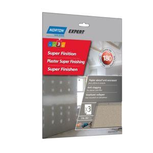 Image of Norton 180 Grit Extra fine Sandpaper sheet Pack of 3