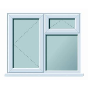 Image of White PVCu LH Side hung with top vent over fixed lite Window (H)1120mm (W)1190mm