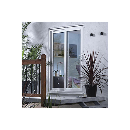 6ft white pvcu unglazed patio door frame departments for Pvcu patio doors