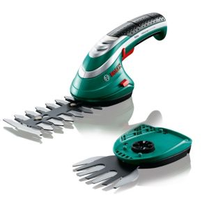 View Bosch Isio Electric Cordless Li-Ion Shrub & Grass Shear Set details