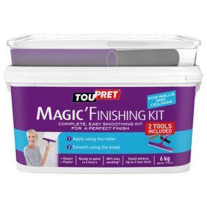Image of Toupret Fine finish Ready mixed Smoothover finishing plaster kit 6kg