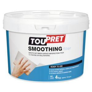 Image of Toupret Fine finish Ready mixed Smoothover finishing plaster 4kg